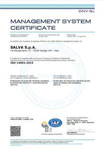 SALVA S.p.A. - certificazione ambientale ISO 14001:2015