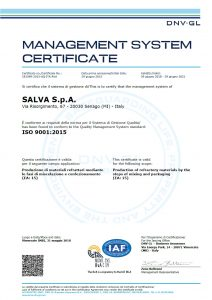 SALVA S.p.A. - certificazione qualità ISO 9001:2015