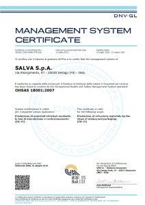 SALVA S.p.A. - certificazione sicurezza sul lavoro BS OHSAS 18001:2007